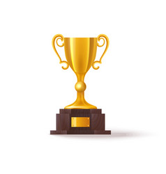 3d soccer trophy or realistic golden football cup vector