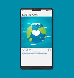 a happy earth day on phone for environment safety vector image