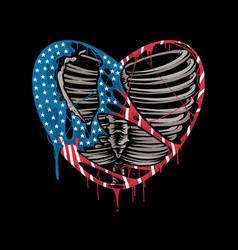 A torn heart with colors united states vector