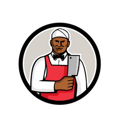 African american butcher circle mascot vector
