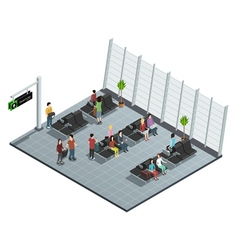 Airport Departure Lounge Isometric Composition vector