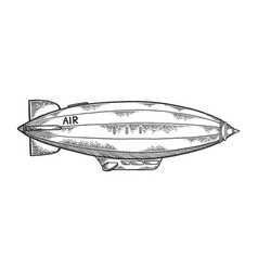 airship dirigible engraving vector image
