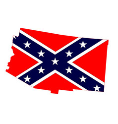 Arizona map and confederate flag vector