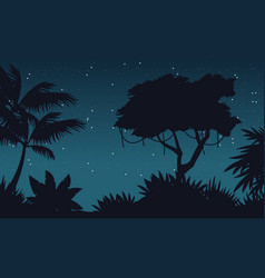 At night jungle scenery with star vector