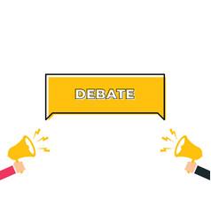 banner with megaphones debate or propaganda vector image