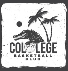 basketball college club badge concept vector image