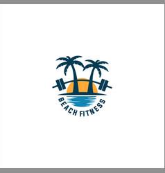 beach fitness logo vector image