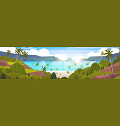 Beautiful seaside landscape summer beach with vector