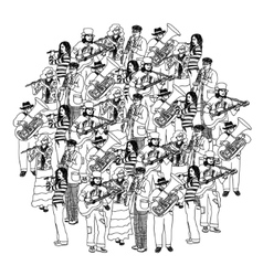 Big group musicians band orchestra monochrome vector image