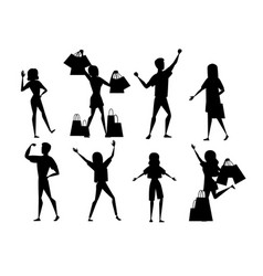 black silhouette set happy people men and women vector image