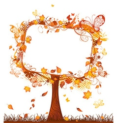 Blank sign on autumn tree vector image