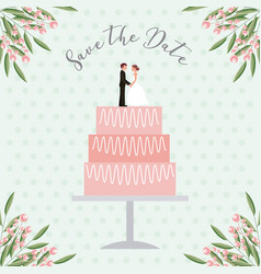 bride and groom dolls in wedding cake save the vector image