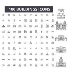 buildings editable line icons 100 set vector image