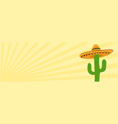 cactus in desert sunrise sunset scene banner vector image