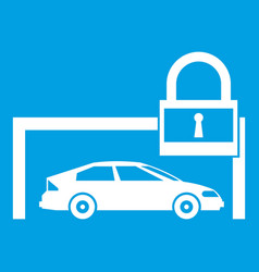 Car and padlock icon white vector
