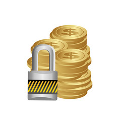 Cash coins with padlock security vector
