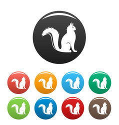 cat icons set color vector image