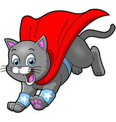 Cat superhero pet cartoon clipart vector