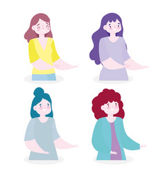 characters cartoon portrait female young women vector image