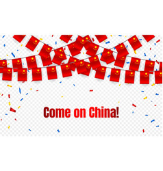 china garland flag with confetti on transparent vector image