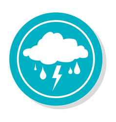 Circular frame with silhouette rain storm weather vector