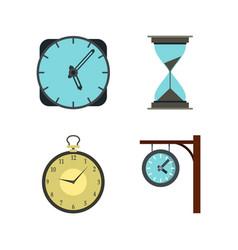 clock icon set flat style vector image
