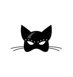 Close up front view of female latex cat mask vector