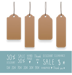 Collection empty hanging tags with rope kraft vector
