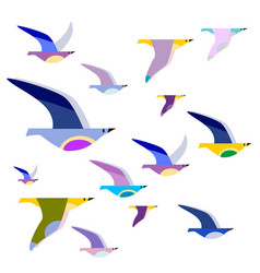 Colorful birds on wires vector