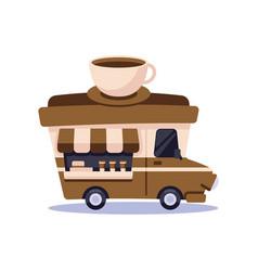 Con cute food trucks coffee shop vector