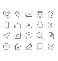 contact us line icon minimal vector image