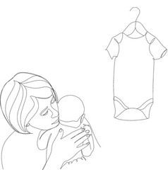 Continuous one single line drawn little children vector