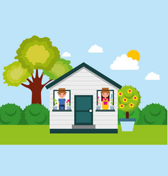 Couple gardeners in house windows with potted vector