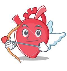 Cupid heart character cartoon style vector