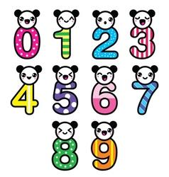 Cute bear Kawaii numbers set vector image