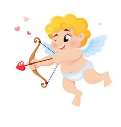 Cute cartoon cupid with bow arrow love and vector