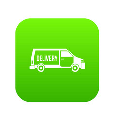 delivery truck icon digital green vector image