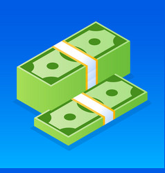 dollar money stack icon isometric style vector image