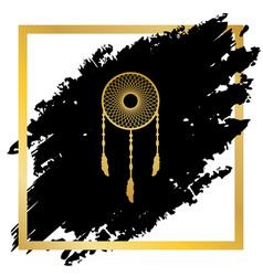 dream catcher sign golden icon at black vector image
