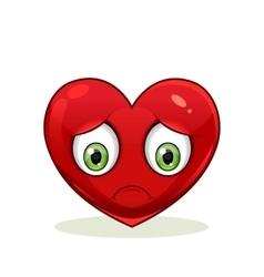 Emoticon with big sad heart vector image