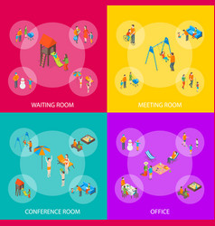families spending free time 3d banner set vector image