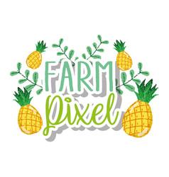 Farm pixel cartoons vector