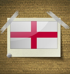 Flags England at frame on a brick background vector