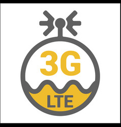 Flat 3g lte logo icon with antenna and wave vector