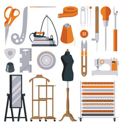 Flat tailor objects set collection for creating vector