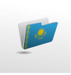 Folder with image flag kazakhstan vector
