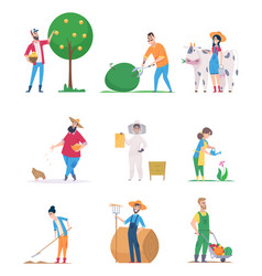 gardeners and farmers happy characters growth vector image
