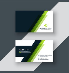 Geometric green business card design vector