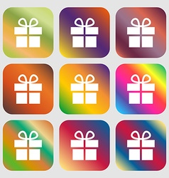 Gift box icon Nine buttons with bright gradients vector