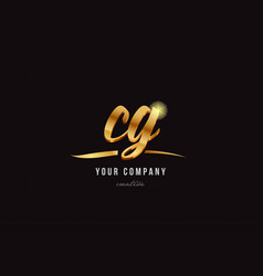 Gold alphabet letter cg c g logo combination icon vector